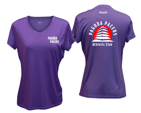 Women's Reflective Short Sleeve Shirt – Reading Pagoda Pacers - Front & Back - Dark Purple