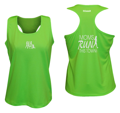 Women's Reflective Tank Top - Moms Run This Town - Front & Back - Neon Green