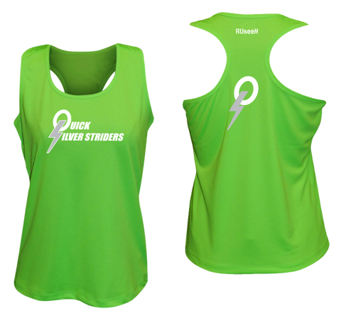 Women's Reflective Tank Top - Quicksilver Striders - Front  & Back - Neon Green