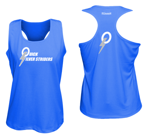 Women's Reflective Tank Top - Quicksilver Striders - Front  & Back - Royal Blue