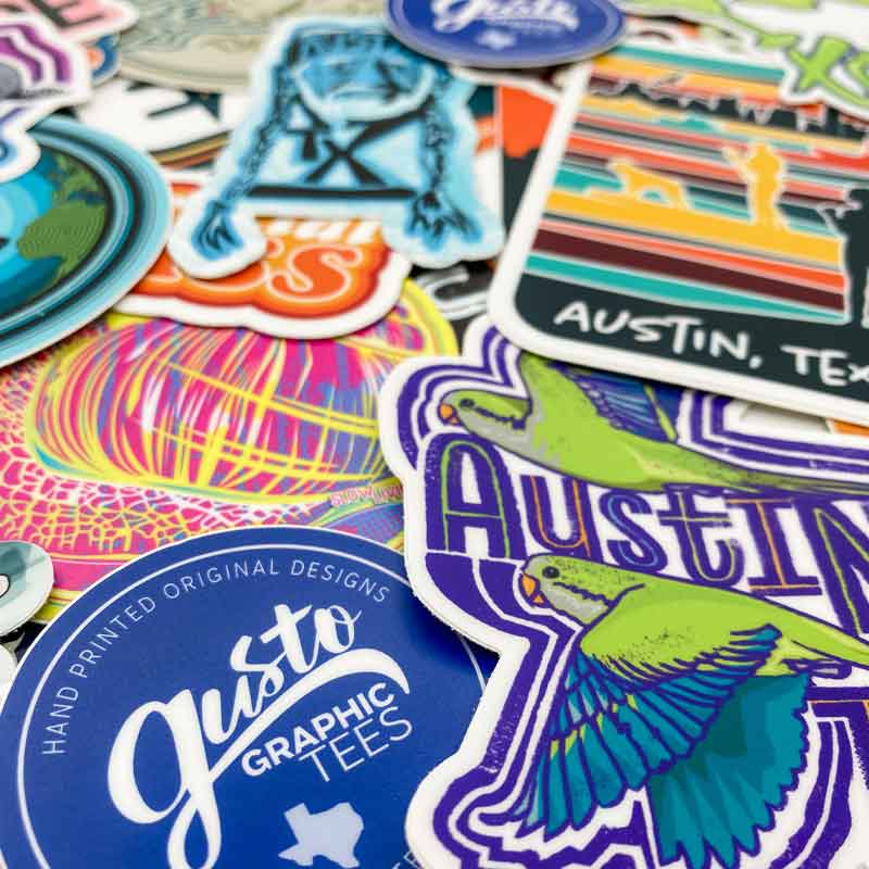 Custom Texas stickers by Gusto Graphic Tees