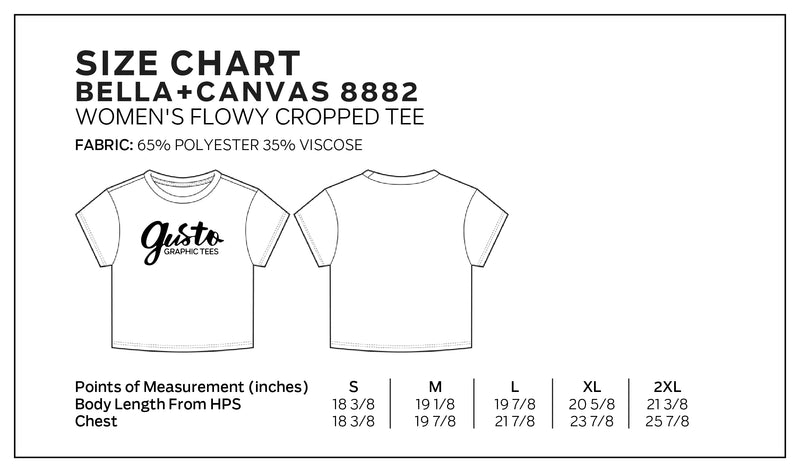 Bella + Canvas Size Chart for 8882, Women's Flowy Cropped Tee