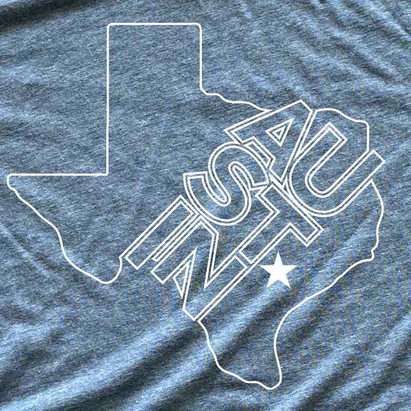 austin t shirt by gusto graphic tees, austin texas t-shirt, texas graphic tee, texas tee, austin t shirt, texas t shirt, texas tee, graphic t shirt, denim triblend t shirt