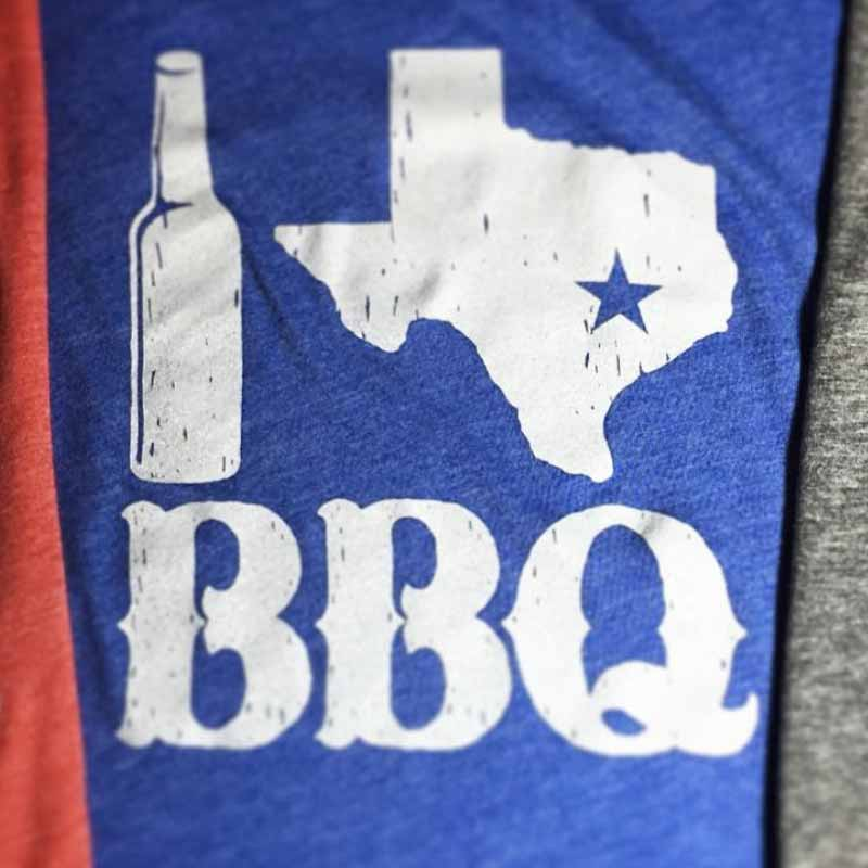 Beer TX BBQ Graphic T-shirt, texas graphic tee, royal blue