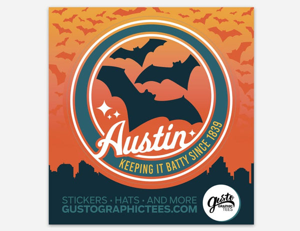 Keep Austin Batty Kiss Cut Sticker, Austin, Texas, Gusto Graphic Tees