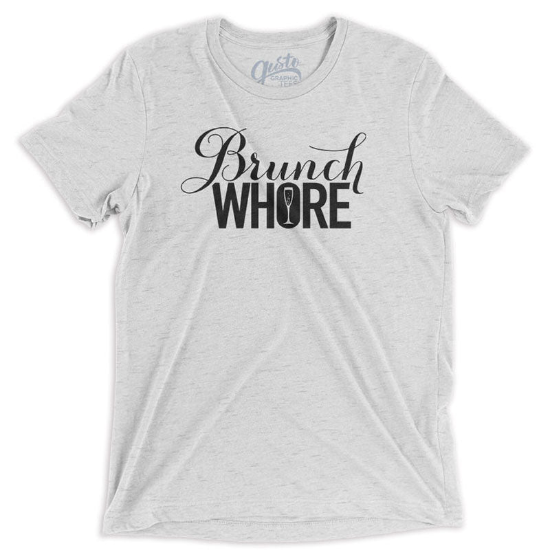 Brunch Whore Graphic T-shirt, white fleck triblend tee