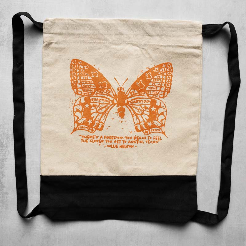 Butterfly ATX Canvas Drawstring Bag