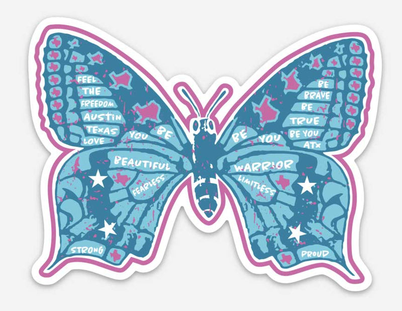 butterfly sticker, vinyl sticker, willie quote, Austin, texas sticker, proud texan sticker