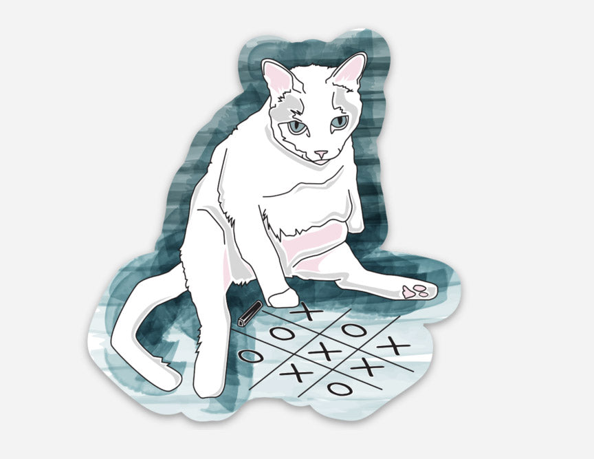 CAT, Tic Tac Toe, cat, tied game, cat got tail, cat sticker, vinyl sticker, xoxo, feline, I love stickers