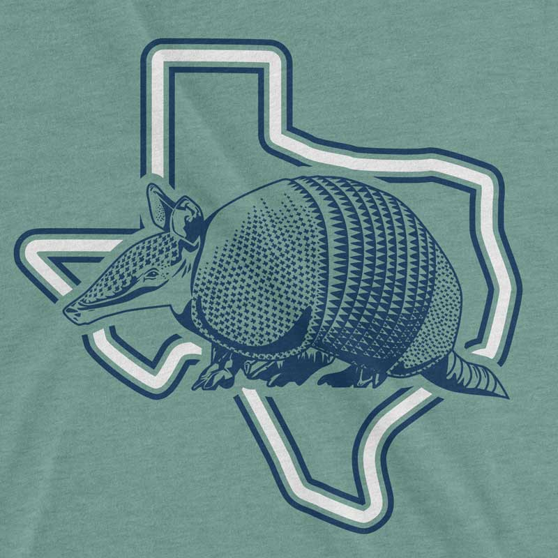 Armadillo Texas Dusty Blue Graphic T-shirt