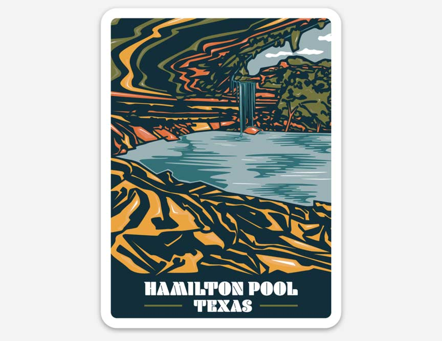 Hamilton pool, texas sticker, Hamilton pool texas sticker, Hamilton pool, visit Hamilton pool, vinyl sticker