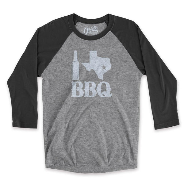 I Love Texas BBQ Unisex 3/4 Sleeve Baseball T-shirt gusto graphic tees