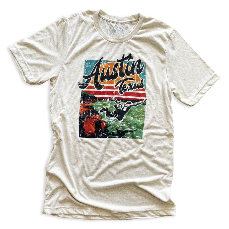 Jump In Austin Texas t shirt by Gusto Graphic Tees, Lake Travis, pace bend, lake travis t shirt, lake travis tee, explore lake travis, lake t shirt, lake tee, cliff dive Austin Texas, austin texas t shirt, texas graphic tee, texas graphic t shirt, texas tee, austin t shirt, texas t shirt, graphic tee, graphic t shirt, cool graphic t shirt, cool t shirt, cool graphic tee, oatmeal triblend t shirt
