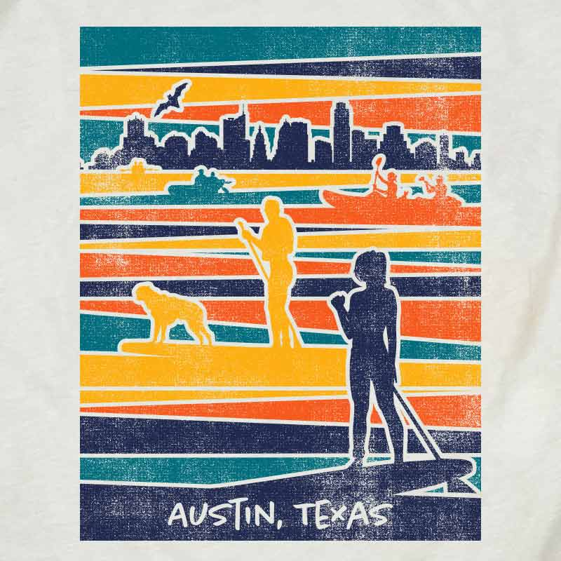 Lady Bird Lake artwork from Gusto Graphic Tees, ladybird lake Austin Texas, town lake Austin Texas, hike town lake, kayaking in Austin, austin texas t shirt, texas graphic tee, texas graphic t shirt, texas tee, austin t shirt, texas t shirt, graphic tee, graphic t shirt, cool graphic t shirt, cool t shirt, cool graphic tee