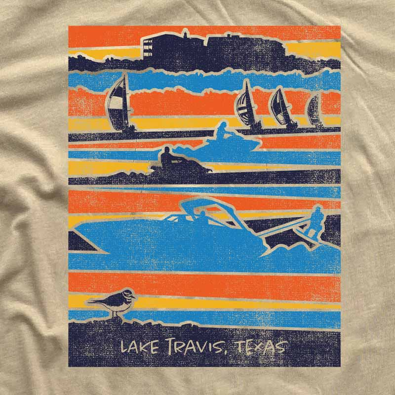 Lake Travis, Austin, texas, Austin lake, Lake Travis graphic t-shirt, Lake Travis tee, Lake Travis shirt, Lake Travis adventures, texas t-shirt, texas tee, Austin Texas things, graphic t-shirt, graphic tee, tan shirt