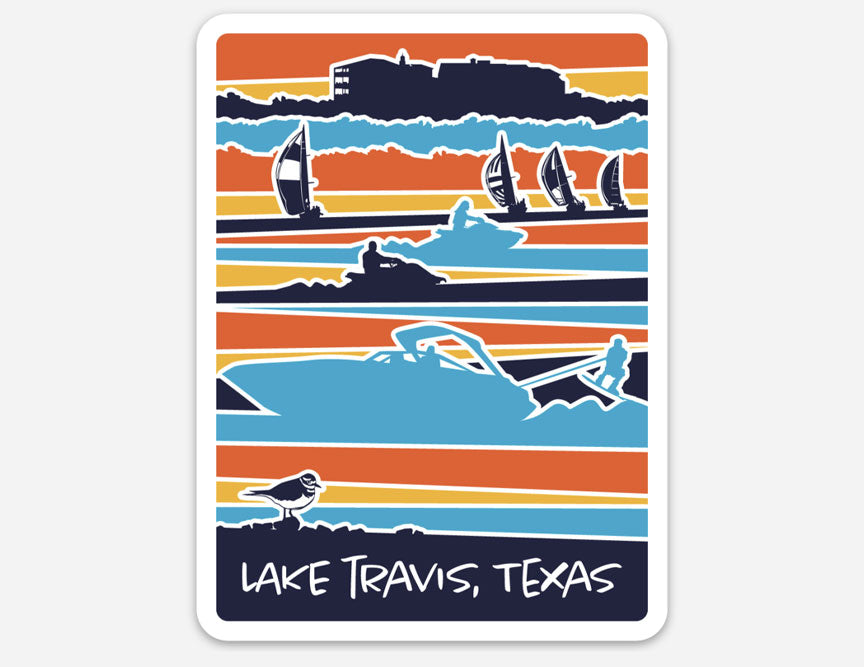 Lake Travis, Lake Travis sticker, vinyl sticker, texas sticker, Lake Travis life, boating, sailing sticker, killdeer sticker