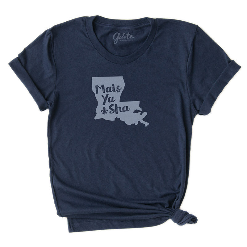 Cajun T-shirt, Mais Ya Sha Cajun T shirt by Gusto Graphic Tees, Bella+Canvas Triblend Navy shirt