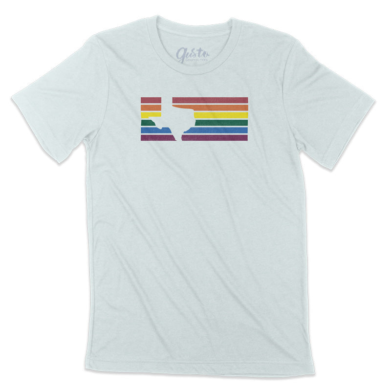 Texas Rainbow Stripes T-shirt by Gusto Graphic Tees, Texas t-shirt, LGBTQ, gay pride, texas love rainbow pride t-shirt gusto graphic tees, Pride, lgbtq texas t shirt, lgbtqia texas rainbow tee, rainbow tee, pride texas t shirt, pride texas tee, gay pride texas tee, austin texas t shirt, texas graphic tee, texas graphic t shirt, texas tee, austin t shirt, texas t shirt, graphic tee, graphic t shirt, cool graphic t shirt, cool t shirt, cool graphic tee
