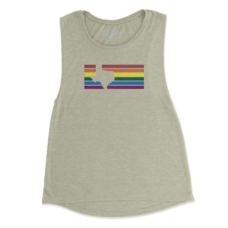 Texas Stripes Rainbow, graphic tank, graphic vintage tank, texas pride, LGBTQ pride, LGBTQ texas, pride, texas t shirt, texas tank, muscle tank