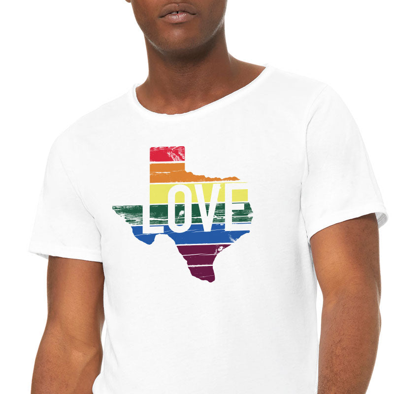 Texas Rainbow Graphic Raw Neck T-shirt