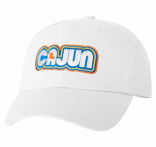 Retro Cajun Dad Hat by Gusto Graphic Tees - Louisiana hat, Front View of hat