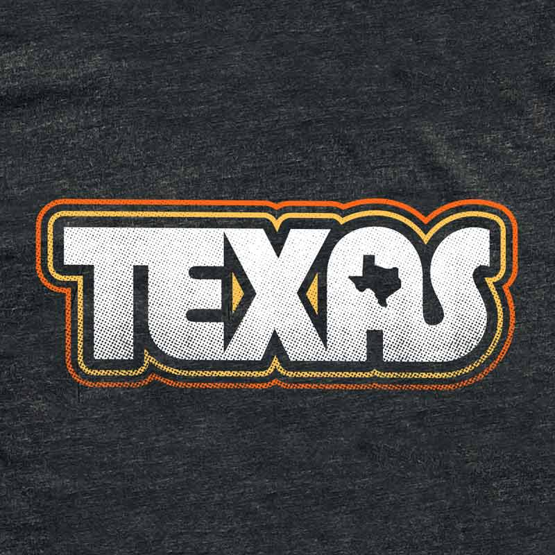Retro Texas Tee by Gusto Graphic Tees, texas t-shirt, graphic t-shirts, austin texas t shirt, texas graphic tee, texas graphic t shirt, texas tee, austin t shirt, texas t shirt, graphic tee, graphic t shirt, cool graphic t shirt, cool t shirt, cool graphic tee