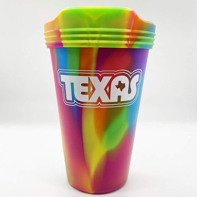 retro texas cup, texas cup, silicup, silicone, pint glass, texas pint glass, texas cup, texas glass, includes lid, texas, silipint, silipint lid  Edit alt text