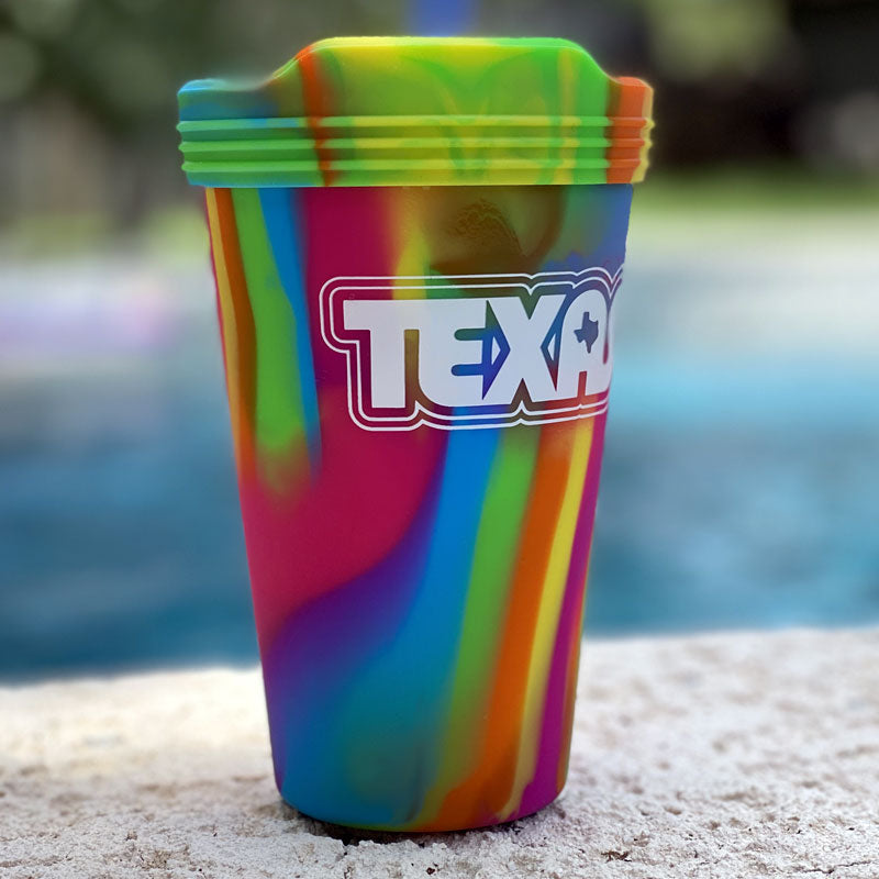 retro texas cup, texas cup, silicup, silicone, pint glass, texas pint glass, texas cup, texas glass, includes lid, texas