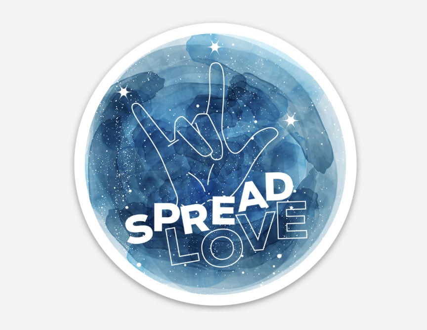 spread love, love, sign language love sign, love sign, sign language, love, love sticker, vinyl sticker, space, love and kindness