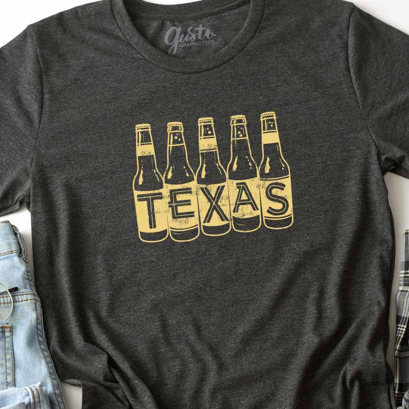 Texas Beer Bottle graphic t shirt by gusto graphic tees
