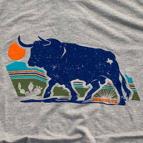 Austin Texas Bull T-shirt by Gusto Graphic Tees - Austin Texas t-shirt