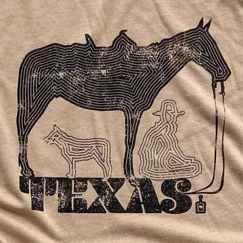 Zen Texas Ranch Cowboy Unisex T shirt Screen Printed Gusto Graphic Tees, austin texas t shirt, texas graphic tee, texas graphic t shirt, texas tee, austin t shirt, texas t shirt, graphic tee, graphic t shirt, cool graphic t shirt, cool t shirt, cool graphic tee, zen t shirt, zen tee, ranch t shirt, horse graphic tee, cowboy graphic tee