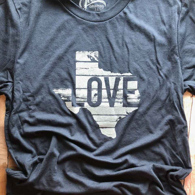 texas love t shirt   Gusto Graphic Tees