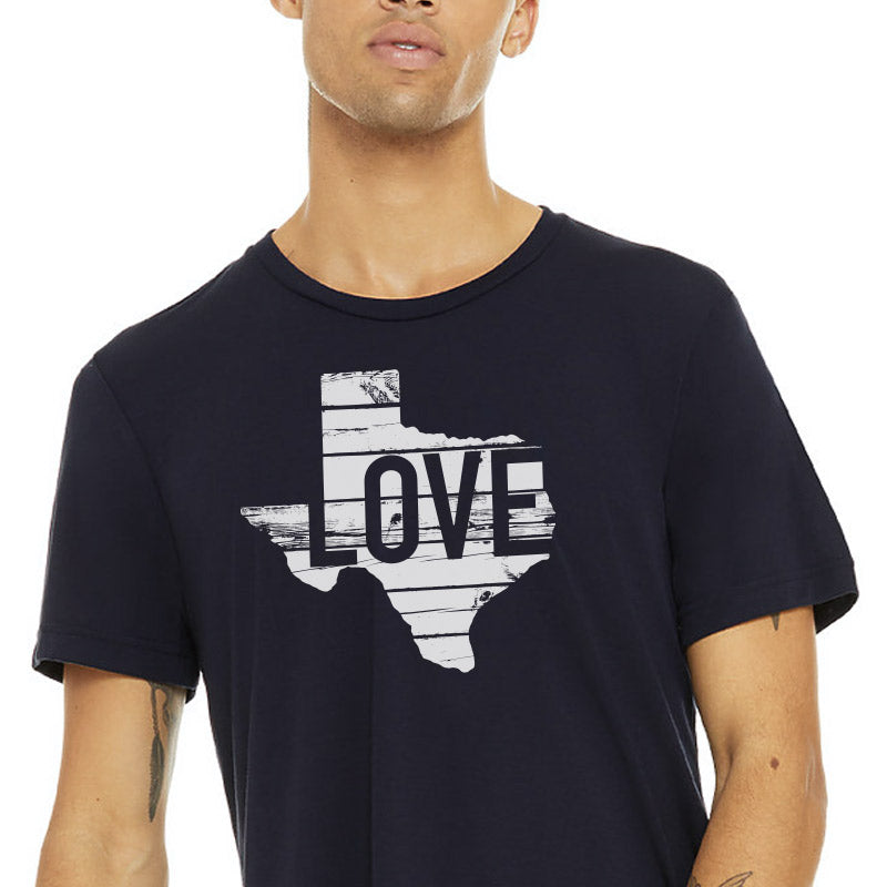 Texas Love Shiplap Graphic T-shirt, navy