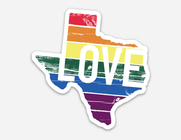 Texas Love Rainbow Pride Sticker by Gusto Graphic Tees
