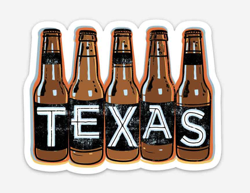 Texas Beer Bottle Sticker, vinyl sticker, texas sticker, texas graphic sticker, beer, sticker, texas beer, texas beer sticker