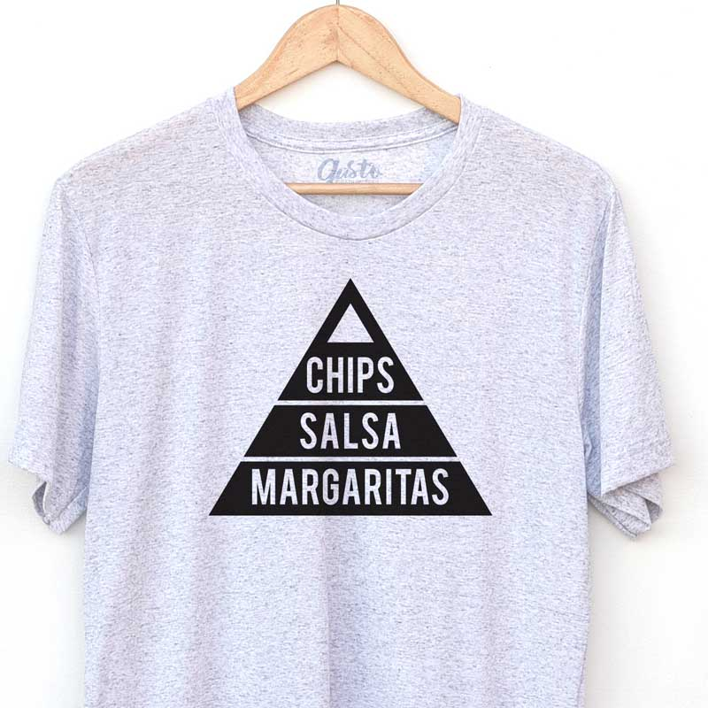 chips, salsa, margaritas t shirt by gusto graphic tees, graphic t shirt, graphic tee, cool graphic t shirt, cool t shirt, cool graphic tee, food pymarid, white fleck triblend