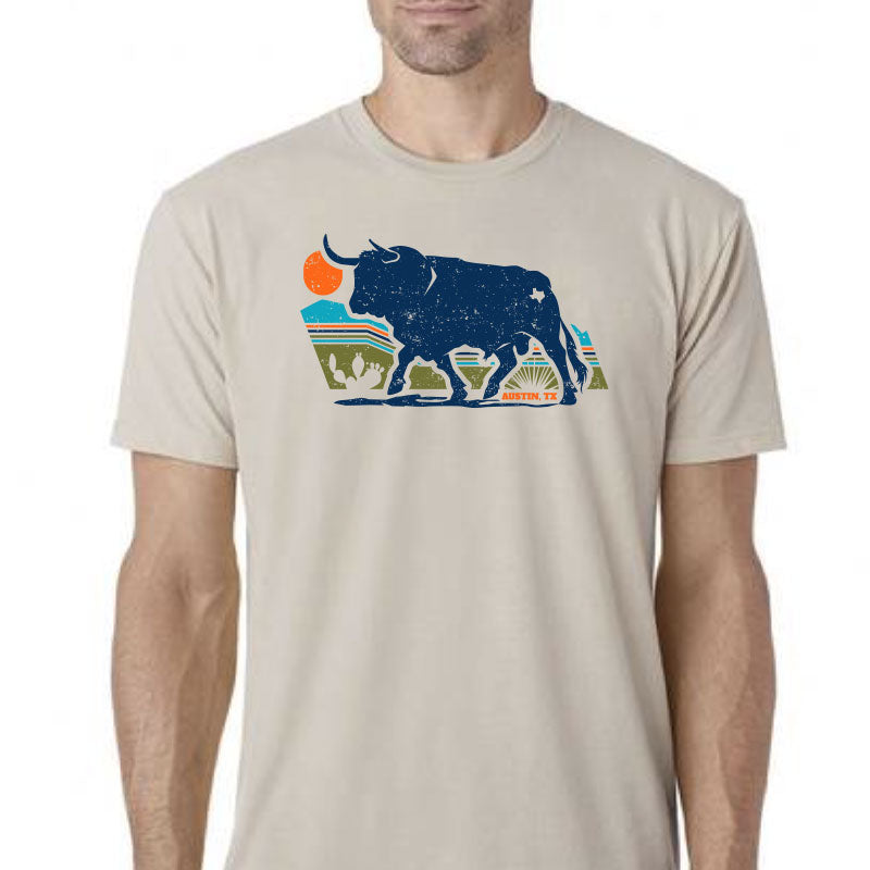 Austin, Texas Bull Sand Graphic T-shirt