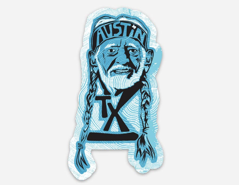 Willie Nelson sticker, Willie Nelson, willie, Austin, texas legend, Austin Texas, sticker, vinyl sticker, texas sticker