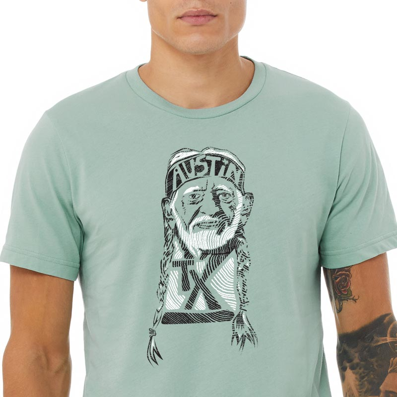 Willie Nelson Dusty Blue Graphic T-shirt
