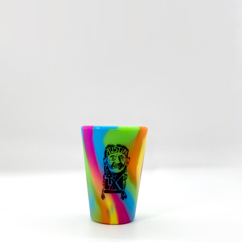 silipint shot glass, willie nelson shot glass, unbreakable shot glass, silipint, groovy shot glass