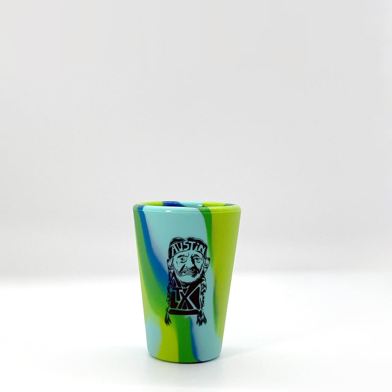 Willie ATX 1.5oz Sea Swirl Silipint Shot Glass, unbreakable shot glass, silipint shot glass, texas shot glass