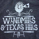 Windmills and Texas Hills Graphic T-shirt, charcoal black tee