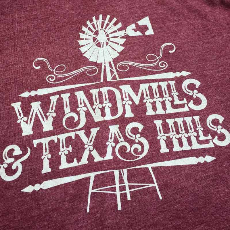 Windmills and Texas Hills Graphic T-shirt, maroon tee
