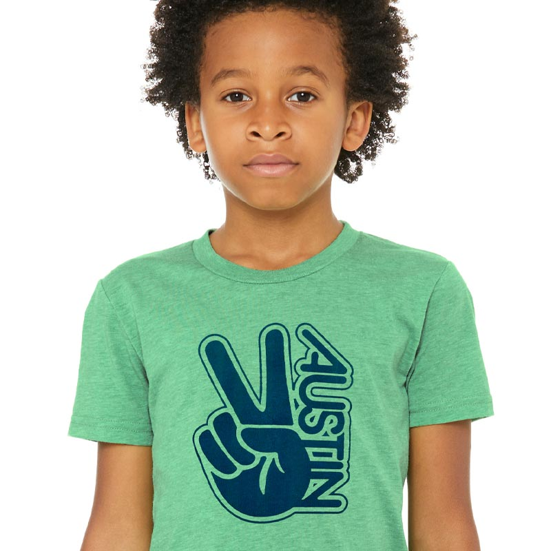 Peace Austin Graphic Youth T-shirt by Gusto Graphic Tees