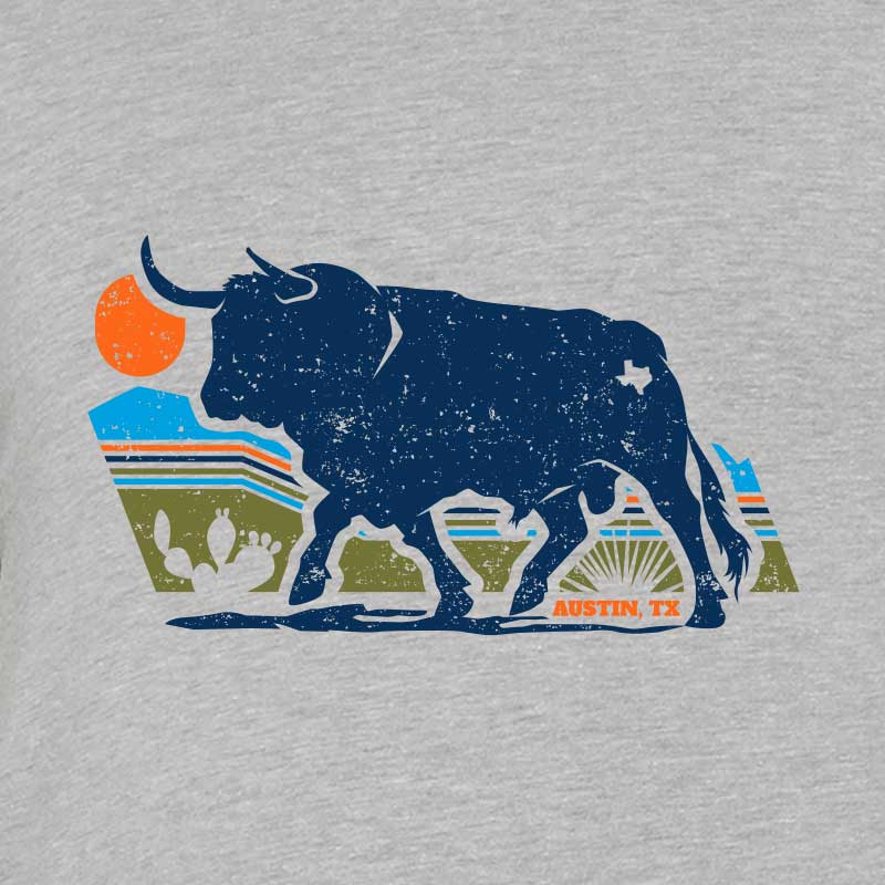 Texas bull t shirt, bull tee, graphic bull t shirt, graphic bull tee, texas landscape, Austin landscape, graphic t shirt, graphic tee, texas, Austin, Austin Texas, Gusto Graphic Tees, Youth Tee, youth t shirt