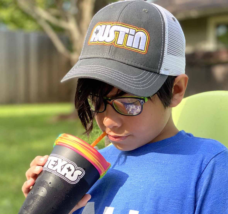 Youth hat, youth cap, texas youth hat, Retro Austin Texas, Austin Texas, texas, youth, boy wearing hat, silipint
