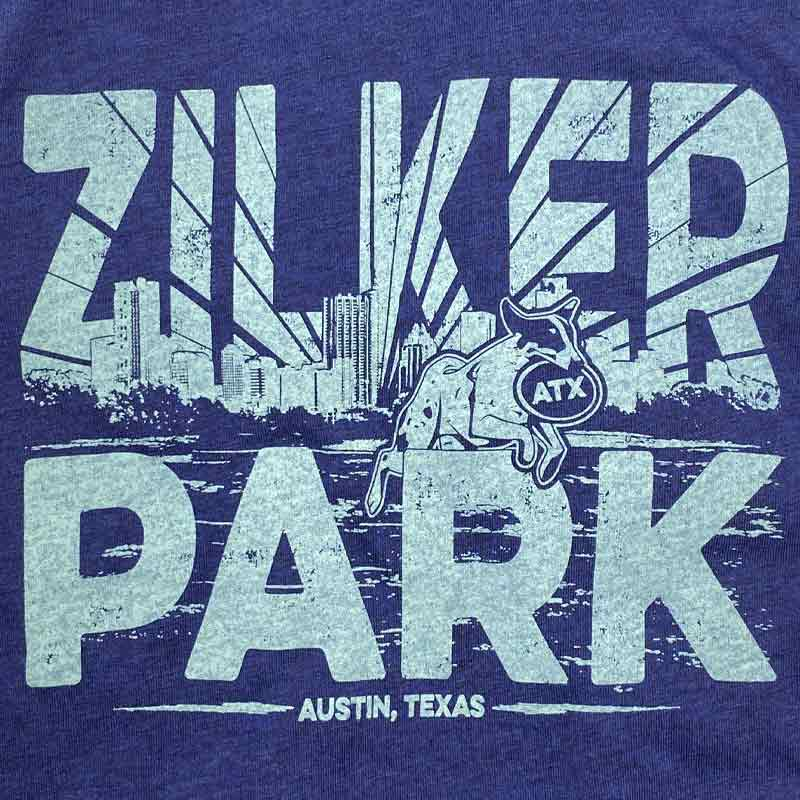 Zilker Dog Park, Austin, Texas,  Navy Graphic T-shirt Designed and screen printed by Gusto Graphic Tees
