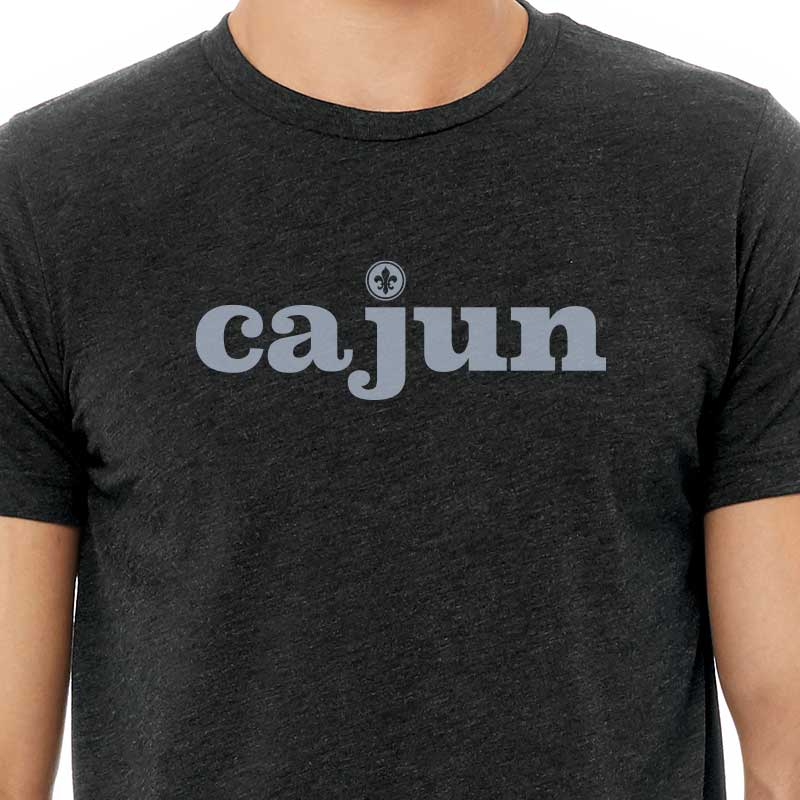 Cajun Graphic T-shirt, charcoal black triblend tee