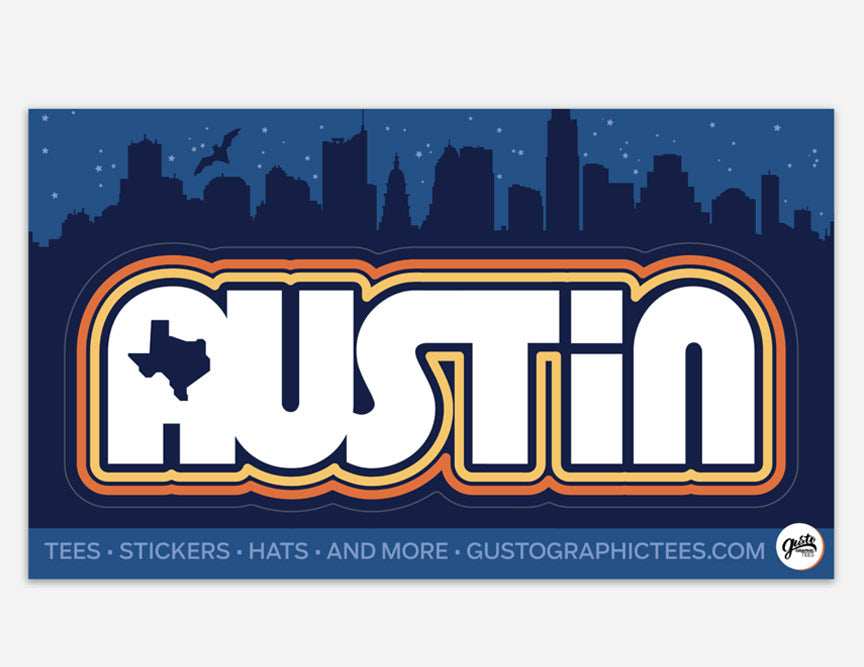 Retro Austin Kiss Cut Sticker